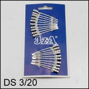 SILVER HAIR GRIPS WITH 3 JETS DS3/20